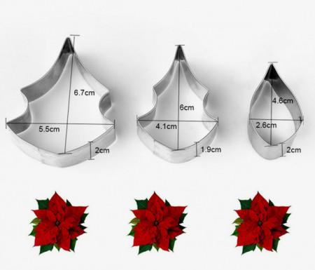 Stella di Natale. Set di 3 Stampi in metallo per la pasta di zucchero