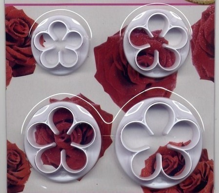 Rosa a 5 petali. 4 Cutter in plastica per il cake design