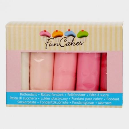 Rosa pastello, Rosa baby, Rosa fucsia, Rosa Tenue e Bianco brillante. Confezione di Pasta di zucchero in 5 Colori. Multipack. FunCakes. Senza Glutine immagini