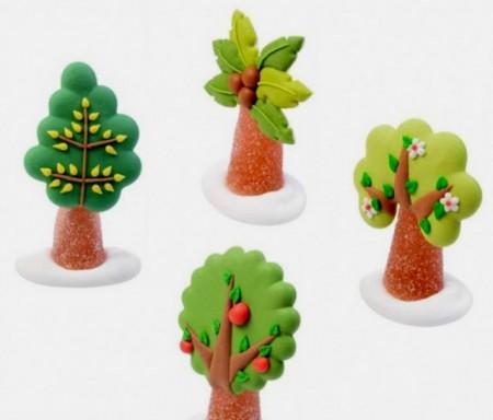 Set di 4 Alberi con Fiori Foglie Mele e Palma. Realistici in Zucchero e Gelatina. Modecor immagini