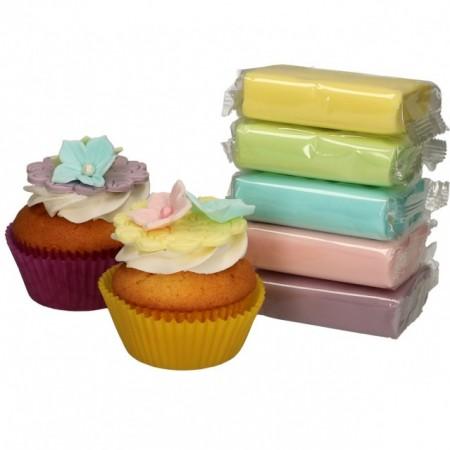 Viola Rosa Blu Verde e Giallo. Confezione di Pasta di zucchero in 5 Colori Pastello. FunCakes. Multipack. Senza Glutine immagini