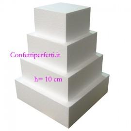 Altezza 10 cm. Quadrate. Basi in polistirolo. Dummy per Torte da lato 5 a 60 cm.