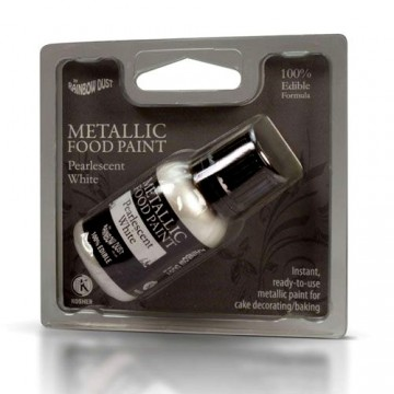 Bianco Metallizzato. Rainbow Dust. Vernice Perlescente. Food Paints.25 ml. immagini