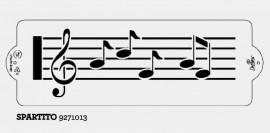 Stencil Musica con Spartito e Note Musicali. Decora