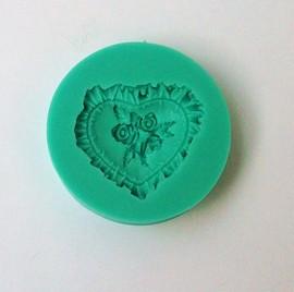 Cuore decorato in un mazzo di Rose. Stampo in silicone per decorazioni pasta di zucchero