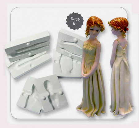Figura di Donna completa in 3/D. Set di 6 stampi in plastica