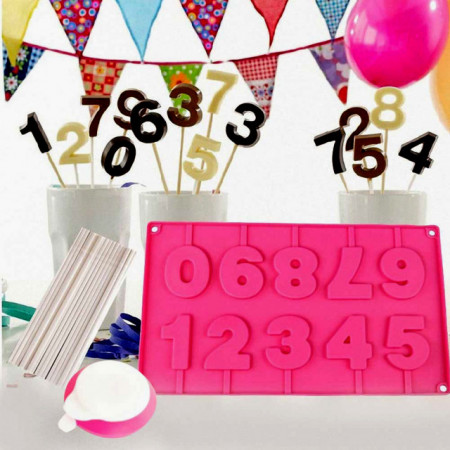 Numeri  Stampo in Silicone per Cake Pops cake design