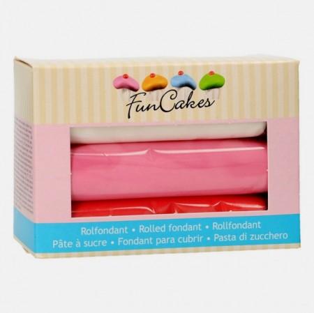Rosso Bianco e Rosa.Confezione di Pasta di zucchero in 3 Colori. Multipack. FunCakes.Senza Glutine immagini
