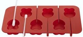 Stampo in Silicone per Cake Pops Doppio Cuore, Fiori e Stelle con 6 stecchette incluse