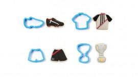 Tagliapasta in plastica Calcio. Maglietta, Coppa, Scarpa con tacchetti e Pantaloncino.