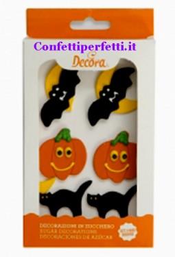 Zucca Pipistrello e Gatto nero. Decorazioni di halloween in zucchero.Decora immagini
