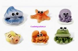 Set di 6 Simpatici soggetti animali marini in pasta di zucchero.