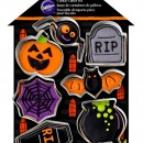 Halloween. Casa dei fantasmi, 7 tagliapasta in metallo. Zucca Pipistrello Ragno Bara Lapide e Ragnatela.Wilton
