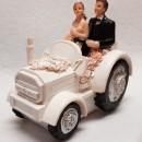 Cake Topper 3/D Sposi con Trattore. In Resina