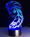 Elsa dal film Frozen. Lampada 7 colori 3/D Led. Telecomando incluso.Cake Topper