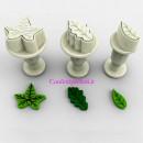 Foglie e Foglioline. Set 3 mini stampi ad espulsione. Originale Dekofee