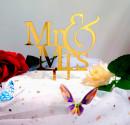 Silhouette Oro Mr e Mrs. Cake Topper Sposi