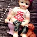 Bambino in Bagno con il Cane. Stampo in silicone