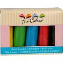 5 Colori Primari. Nero, Rosso, Giallo, Verde e Blu.Pasta di zucchero. FunCakes
