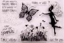 Farfalle Fiori Fata e Frasi Celebri in rilievo a Timbro trasferibili