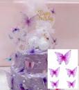 Farfalle volanti con Ali Lilla e bordi Neri. Sagoma Cake Topper