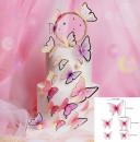 Farfalle volanti con Ali Rosa e bordi Nero. Sagoma Cake Topper