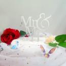Silhouette Argento Mr e Mrs. Cake Topper Sposi