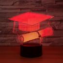 Cappello Laurea e Pergamena. Lampada 7 colori 3/D Led. Telecomando incluso.Cake Topper