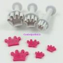 Corona. Set di 3 mini stampi ad espulsione. Originale Dekofee