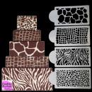 Pelle di Zebra Leopardo Coccodrillo e Giraffa. Set di 4 fantastici Stencil
