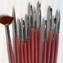 Set di 11 pennelli per decorazioni di varie misure e dimensioni+ attrezzo a punta lunga in acciaio.