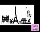 Statua della Libertà e Torre Eiffel. Stencil in policarbonato