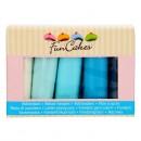 5 Colori. Blu pastello, Blu baby, Blu mare, Blu denim e Bianco brillante. Pasta di zucchero. Senza Glutine