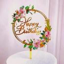 Buon Compleanno in cerchio di Fiori Rosa. Happy Birthday. Cake Topper
