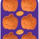 Halloween. Stampo x 6 tortine a forma di zucca con 3 faccine differenti in silicone.Wilton