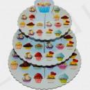 Alzata in Cartoncino a 3 piani per Cup Cake e Muffin 35 cm.