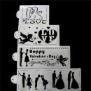 Amore e Innamorati. Set di 4 fantastici Stencil