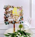 Buon Compleanno in Cornice Quadrata. Happy Birthday. Cake Topper