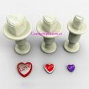 Cuori con scritta Love. Set 3 mini stampi ad espulsione. Originale Dekofee
