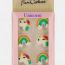 Unicorno e Arcobaleno. Set di 8 decorazioni in zucchero a tema. FunCakes