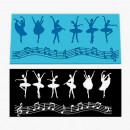Ballerina e Note Musicali. Grande Stampo in silicone