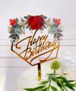Buon Compleanno. Cornice con grande Rosa Rossa. Happy Birthday. Cake Topper