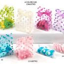 Confezione di 12 Bustine in PVC trasparente.Vari colori a Pois.