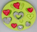 Cuori decorati. Stampo in silicone in 11 decorazioni
