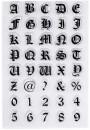 Old English. Lettere e Numeri Alfabeto Gotico Medievale a Timbro trasferibili da dipingere