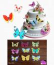 Set D. Farfalle volanti in Wafer Paper edibili. Cake Topper