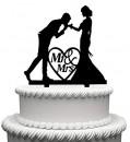 Baciamano. Cake Topper Sposi. Silhouette sagoma nera
