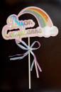 Buon Compleanno Rosa con Arcobaleno e Fiocco. Cake Topper