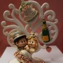 Cake Topper 3/D Sposi Festa con Albero della Vita. In Resina