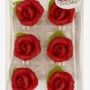 Confezione di 6 fantastiche Rose Rosse di Marzapane con foglia!!